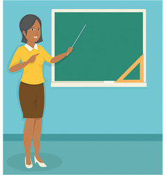 young black female teacher teaching in front of vector image