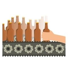 Bottles of beers in the factory icon image vector image