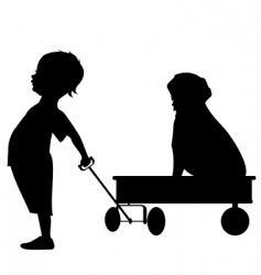 boy with wagon vector image vector image