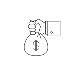 Hand with bag of money line icon vector image vector image