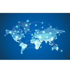 Polygonal World Map with spot lights effect vector image