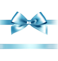 Shiny light blue satin ribbon on white background vector image