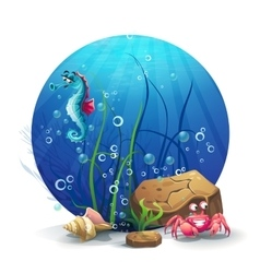 underwater rocks with seahorse and vector image vector image