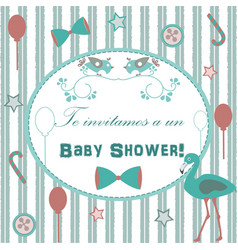baby shower invitation card design with flamingo vector image vector image