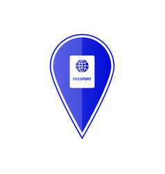 blue map pointer with passport vector image vector image