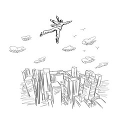 Businessman flying in the sky over city vector