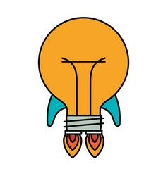 Colorful silhouette of bulb light in shape of vector