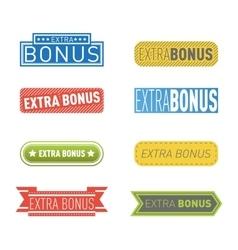 Extra bonus labels set vector image