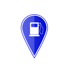 blue map pointer with gas station vector image vector image