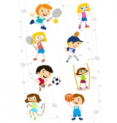 cartoon sport kids vector image vector image