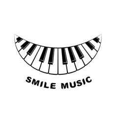 music logo piano smile icon simple style vector image