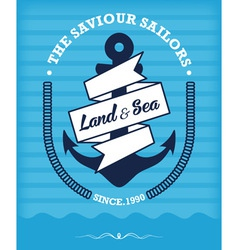 Nautical Anchor Vintage Label on Blue vector image vector image
