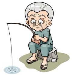 Old man fishing vector image