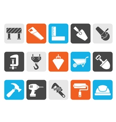 Silhouette Construction industry and Tools icons vector image vector image