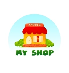 Tiny little shop image in cartoon style vector image vector image