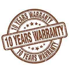 10 years warranty brown grunge round vintage vector