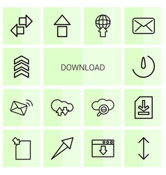 14 download icons vector image