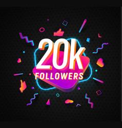 20k followers celebration in social media vector