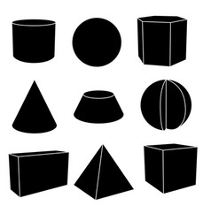 3d geometric shapes in black flat outlines vector