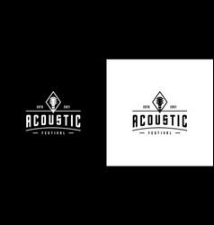 acoustic guitar logo design template vector image