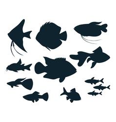 Aquarium fish silhouettes vector