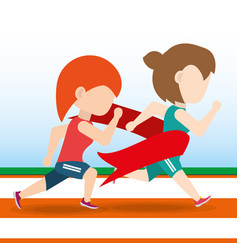 athlete woman running in competition championship vector image