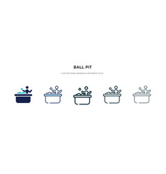 Ball pit icon in different style two colored and vector