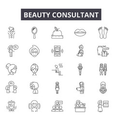 Beauty consultant line icons for web and mobile vector