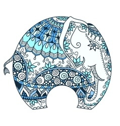 blue decorated Indian Elephant vector image