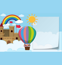 Border template with kids riding balloon vector