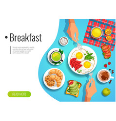 Breakfast colored background vector