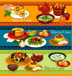 bulgarian food banner for balkan cuisine design vector image