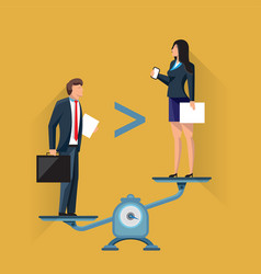 businesspeople on scales in unequal positions vector image