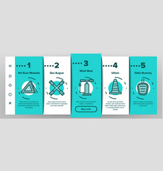car accessories tool onboarding icons set vector image