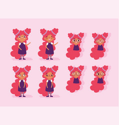 cartoon character animation girl faces with vector image