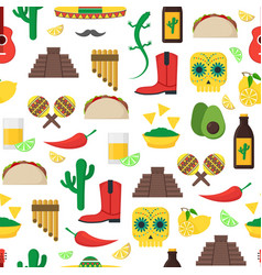 Cartoon mexican culture background pattern on a vector