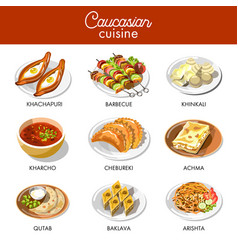 Caucasian or georgian cuisine menu flat vector
