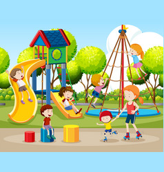 Children playing outdoors scene vector
