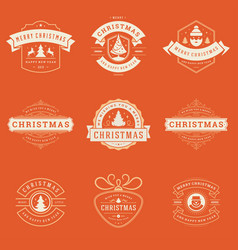 christmas sayings labels and badges design vector image