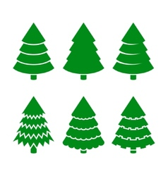 Christmas Trees Icons Set vector image