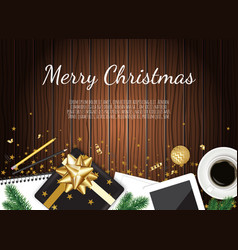 christmas working place christmas gift box vector image