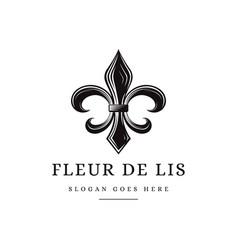 classic vintage black and white fleur de lis logo vector image