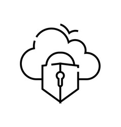 cloud protection line icon concept sign outline vector image