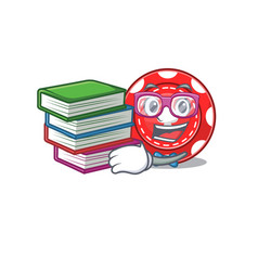 Cool and clever student gambling chips mascot vector