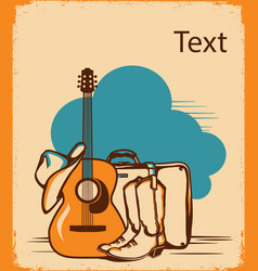 country guitar music travel vintage poster vector image