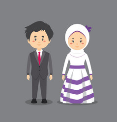 Couple character wearing wedding dress vector