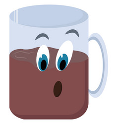 cup coffee with eyes on white background vector image