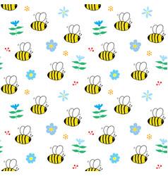 cute bee seamless pattern cartoon hand drawn vector image