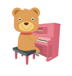 cute brown teddy bear playing piano in flat style vector image