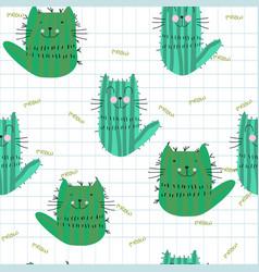 Cute cactus kitty kitten cat seamless pattern vector